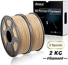 SUNLU Wood Filament 2kg - 1.75 mm 3D Printer Filament, Dimensional Accuracy +/- 0.02 mm Sweet Smell 3D Printing Filament, 2.2 lbs Spool Wood 3D Printer Filaments for Most 3D Printer & 3D Pen