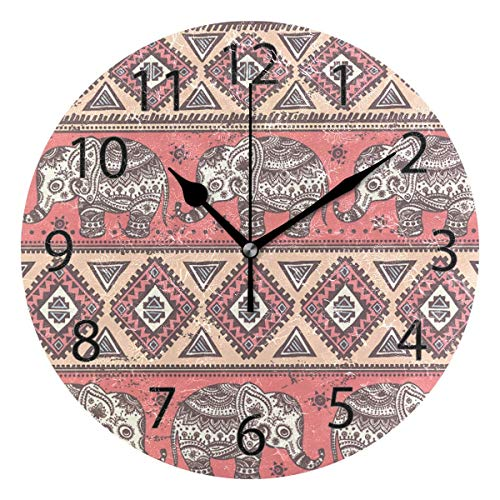 Reloj de pared decorativo para el hogar, oficina, silencioso, de madera, 25,4 cm, redondo, para sala de estar, oficina (elefante con patrón floral)