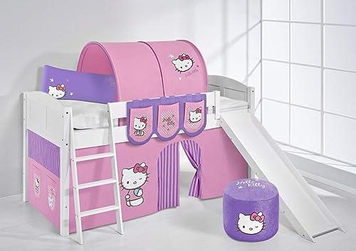 LiloEnfants Lit surélevé ludique IDA 4106 90x200 cm Hello Kitty violets - Lit surélevé évolutif blanc laqué - avec toboggan et rideaux