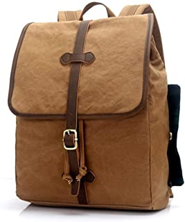 YIBEIANYU Canvas Backpack Tide Student Bag Travel Backpack Leisure Computer Cloth Bag (Color : Khaki)