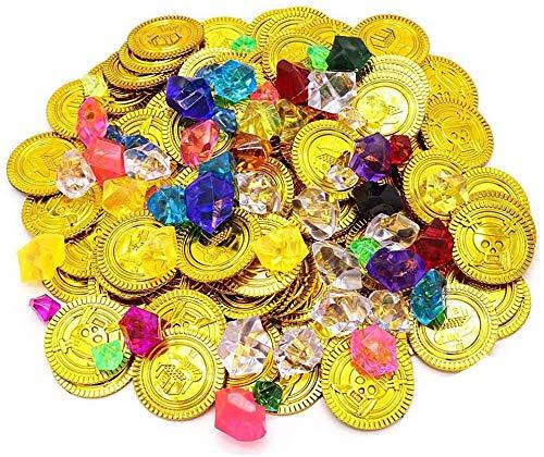 Monedas oro Juguete, ZoneYan Monedas de oro y Gemas, 100 Monedas de oro Pirata, 100 Gemas de Piratas, Monedas de oro y Gemas Piratas del Tesoro Pirata, Búsqueda del Tesoro, Cumpleaños Los Niños