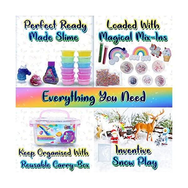 Unicorn Slime Kit for Girls, Slime Kit for Girls, 12 Fluffy Slime Rainbow Colors, 3 Galaxy Slime, Poop Emoji, 2 Snow, DIY Add-ins, Charms, Glitter, Sequins, Foam Balls, 45 Pieces, Ages 7-12, Kids Gift 6