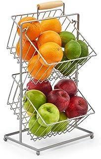 EZOWare Corbeille à Fruits à 2 Étages, Porte Fruits, Panier de Rangement Suspendu pour Cuisine, Placard, Salle de Pain – A...