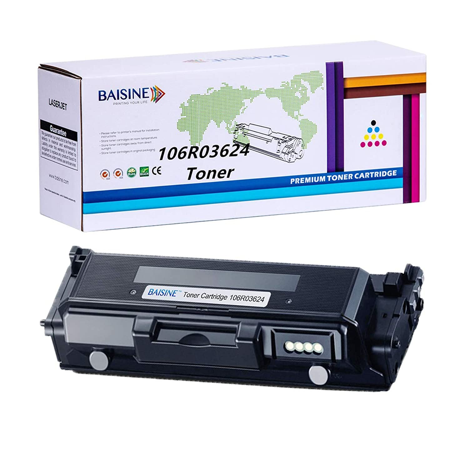 BAISINE Compatible Toner Cartridges Replacement for Xerox 106R03624 Toner Xerox Phaser 3330 WorkCentre 3335 3345 Printer Ink - 106R03623 - Extra High Yield 15,000 Pages (Black, 1 Pack)