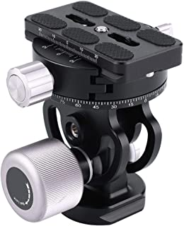Panoramic Tripod Head, Two-Dimensional 180 Degree Rotation Aluminum Alloy Pan Head with Quick Release Plate for Telephoto Video Shooting Tripod Accessories