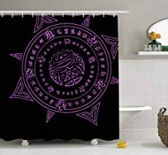Jacrane 72X72 Shower Curtain, Waterproof Fabric Bathroom Clear Shower Curtains Liner with Hooks Native American Witchcraft Symbol Magic Ornament Ancient Mystic Spell Aztec Colorful Shower Curtain