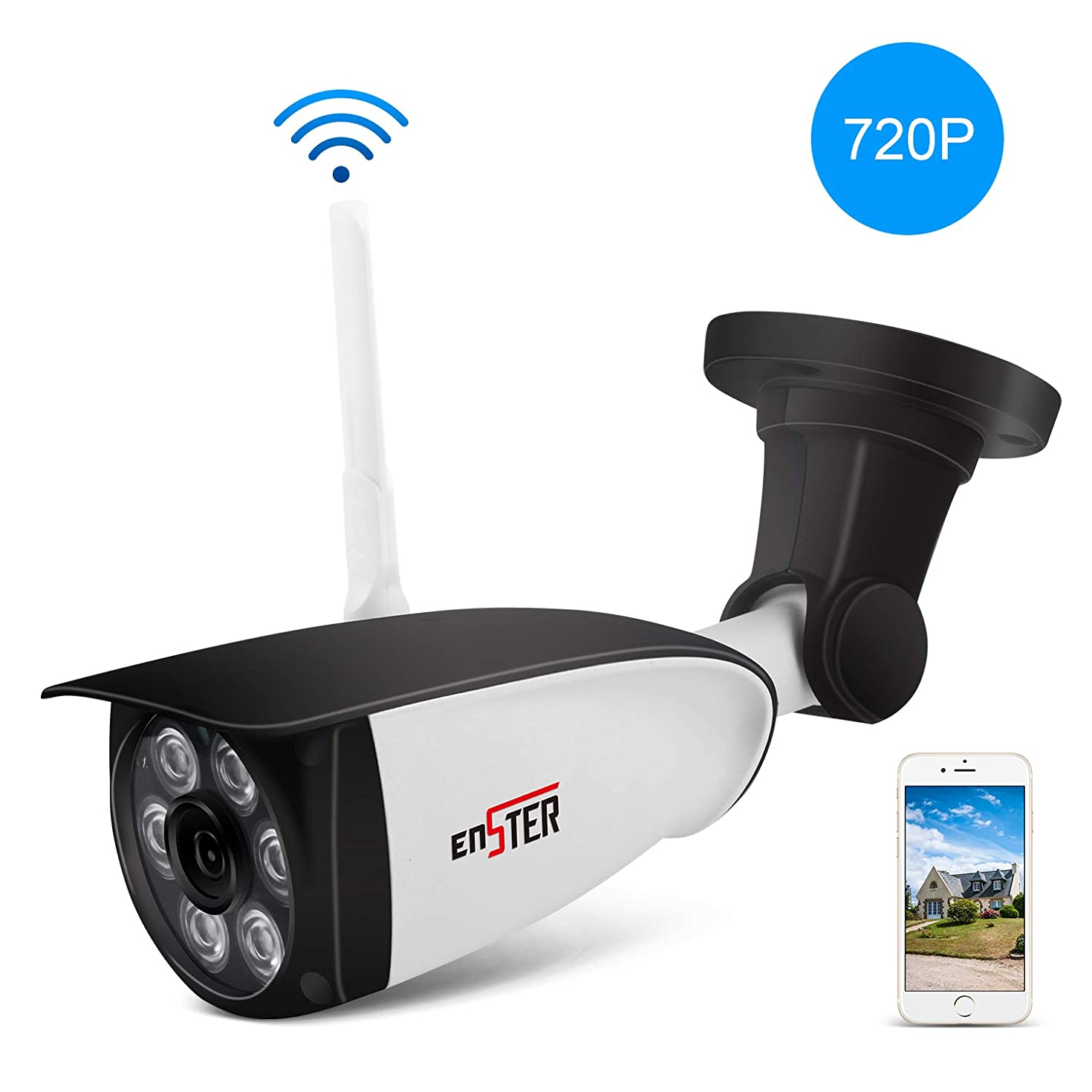 ENSTER Wireless Outdoor Security Camera - 720P Home Outside Surveillance Camera - Motion Detection, Waterproof, Night Vision, Support Max 128GB SD Card -Windows, iOS, Android Compatibility