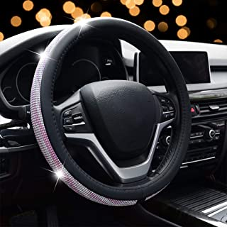 Steering Wheel Cover for Women, Pink Sliver Bling Crystal Diamond Rhinestone Black Leather Car Steering Wheel Cover for New Girl Universal 15 inch