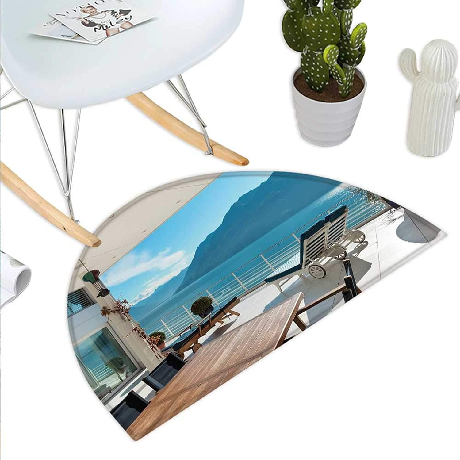 Modern Decor Semicircle Doormat Terrace Penthouse Overlooking Lake Outside Deckchairs Tranquil Scene Halfmoon doormats H 35.4  xD 53.1  White Dark bluee bluee
