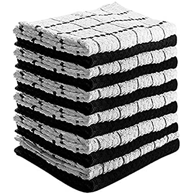 Utopia Towels Kitchen Towels (12 Pack, 15 x 25 Inch) 100% Premium Cotton - Machine Washable - Extra Soft Set of 12 Black and White Dobby Weave Dish Towels, Tea Towels, Bar Towels - by