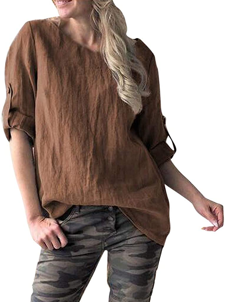 FRCOLT Womens Free shipping / New Solid Roll Online limited product Up Sleeve Vintage T Fitted Loose O-Neck