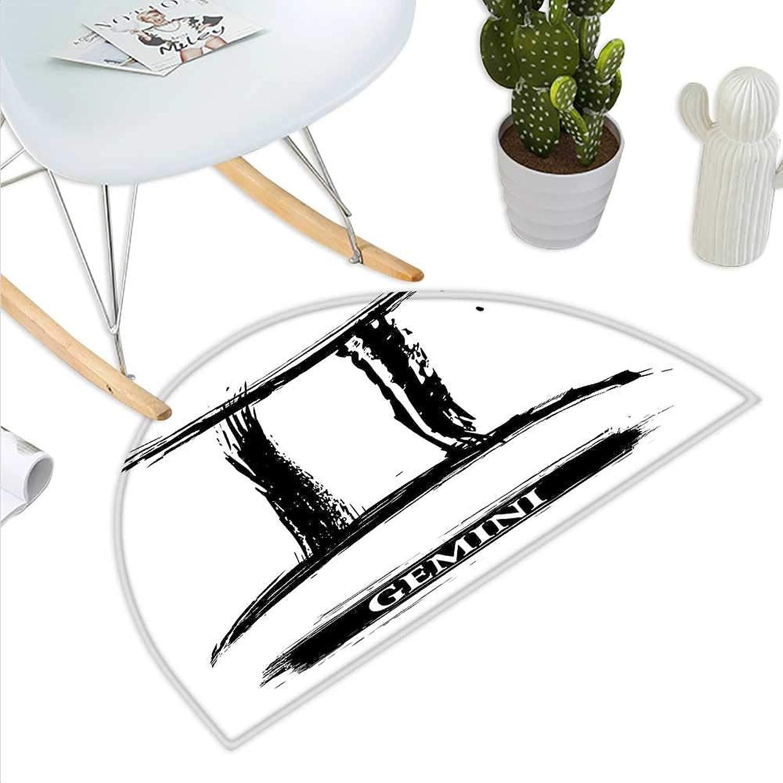 Zodiac Gemini Semicircle Doormat Grunge and Artistic Brushstroke Design Hgoldscope Icon Astrology Symbol Halfmoon doormats H 39.3  xD 59  Black and White