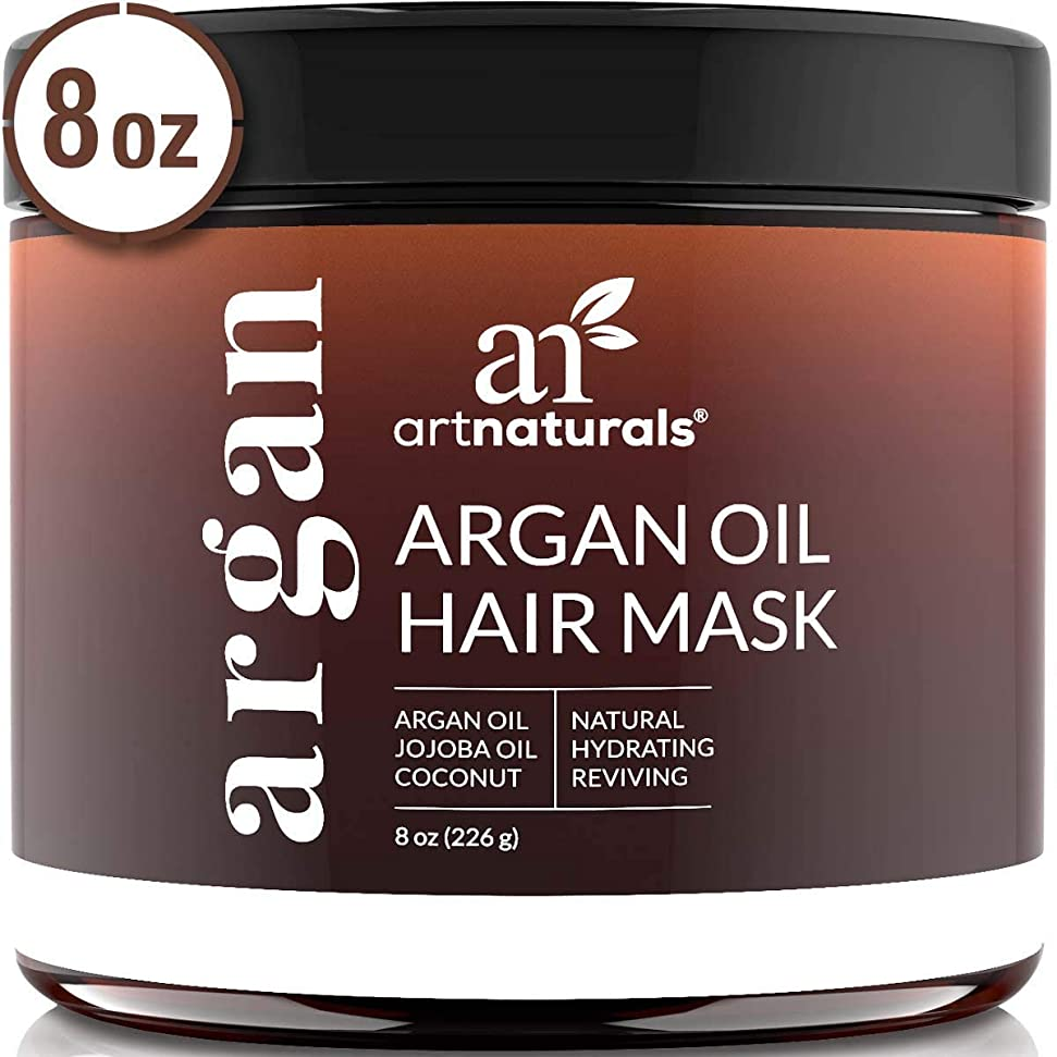 時間とともにビヨン改修ArtNaturals Argan Oil Hair Mask - Deep Conditioner, 100% Organic Jojoba, Aloe Vera and Keratin, Repair Dry, Damaged or Color Treated Hair after Shampoo for All Hair Types, Sulfate Free, 8 oz.