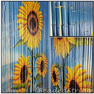 BeadedString Bamboo Wood Beaded Curtain-90 Strands-80 in (6.6 ft) High-Bohemian Doorway Beads-Sunflower