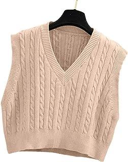 Women's V-Neck Knit Sweater Vest Solid Color Argyle Plaid...