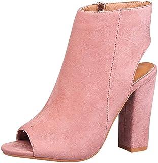 aedae97a827 Yudesun Zapatos para Mujer Botas - Tacón Alto Punta Abierta Botines  Cremallera Lateral Peep Toe Espalda