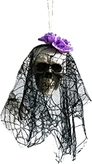 Tamquer Halloween Hanging Decor Pirates Corpse Skull Haunted House Bar Home Garden Decor Lace Flower Head Cover Tree Hanging Ornaments for Halloween Themed Party