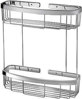 LOSYU Étagère de douche d'angle de salle de bains Basket Panier d'angle à deux niveaux Acier inoxydable Lavabo Rangement O...