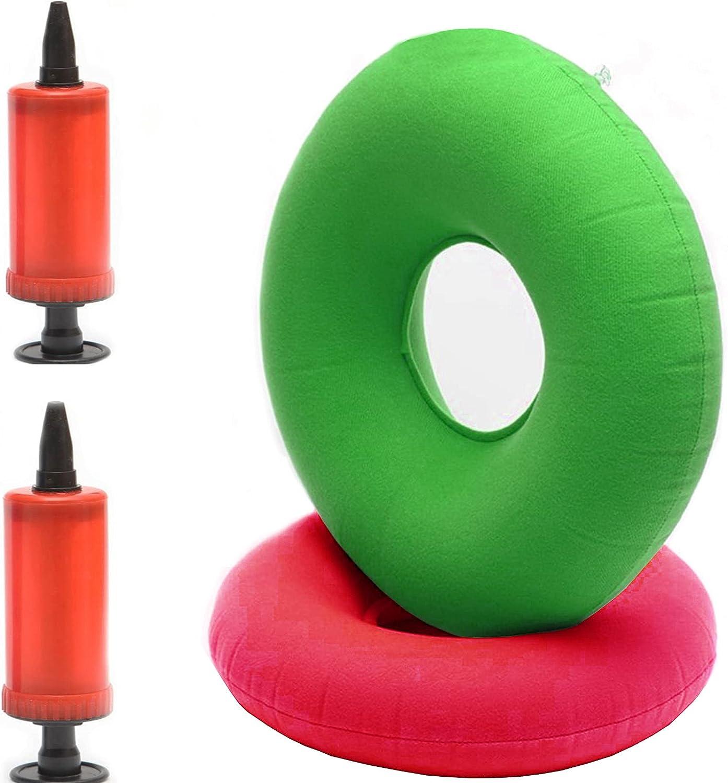 2 Piezas Cojín de Anillo Inflable, con 2 Bombas, para Asientos de Automóvil, Sillas de Ruedas, Tratamiento de Hemorroides, Oficina Sedentaria (Rojo, Verde)
