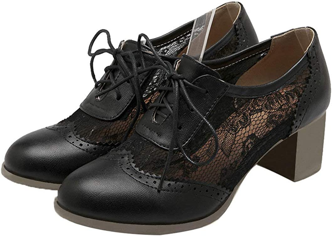 Bellirala Womens High 70% OFF Outlet Heel Pumps Brogues Oklahoma City Mall Lace Oxfords Shoes Up