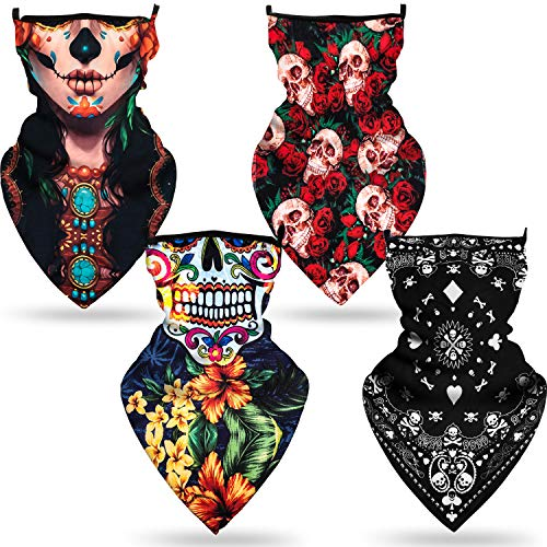 4 Pieces Triangle Face Cover Scarf Ear Loops Bandana Neck Gaiter Rave Skull Face Coverings for Women Summer Outdoor