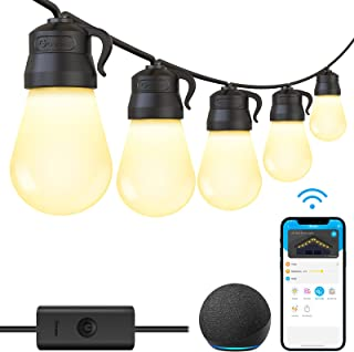 Govee 48ft Smart Wi-Fi Outdoor String Lights with Bluetooth App Control, Patio Lights Work with Alexa Google Assistant, 15...