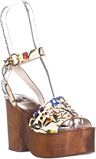 f39cf1b53 Tory Burch Womens May Leather Floral Print Platform Sandals