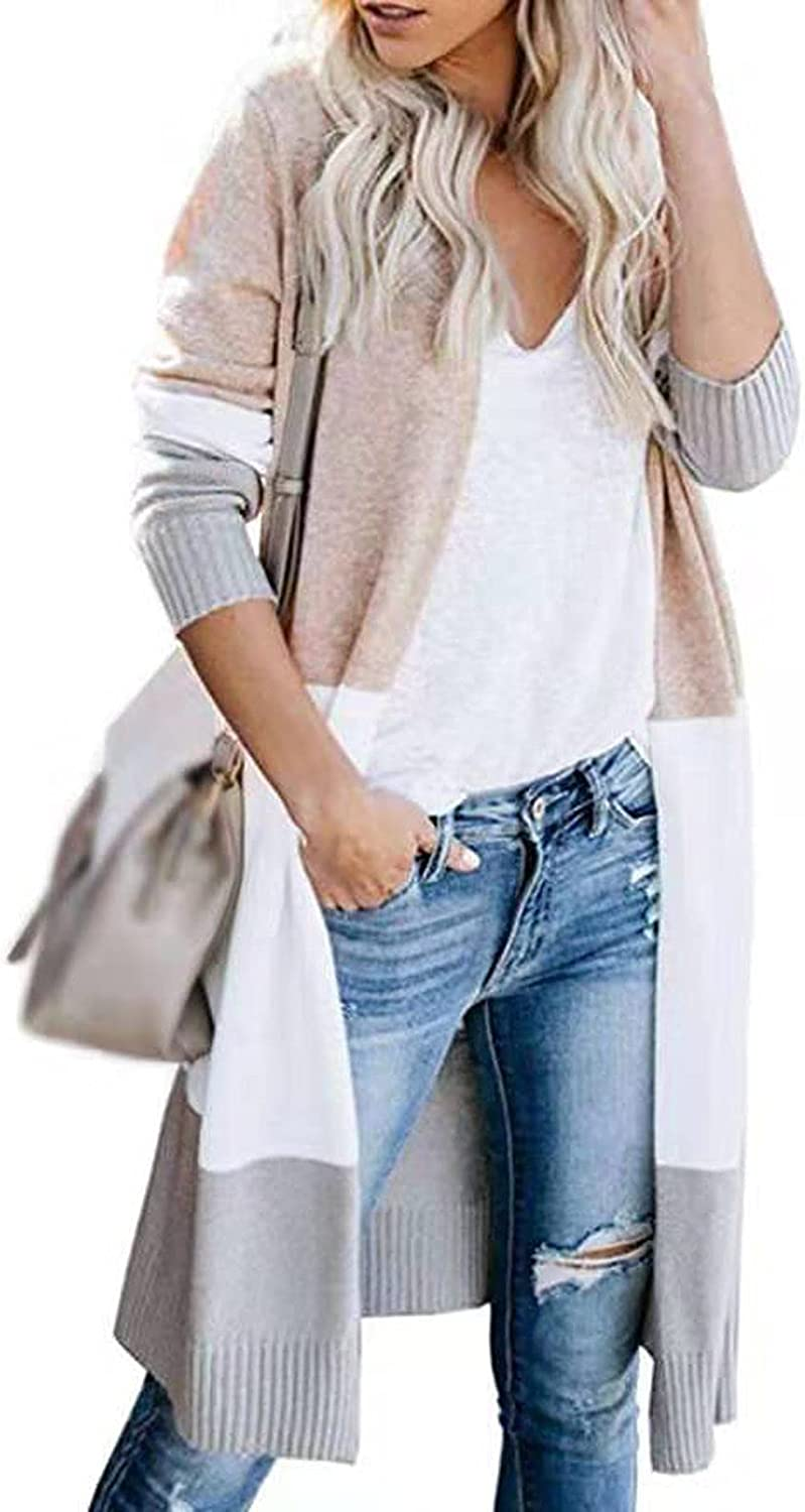 Womens Color Block Striped Cardigans Long Sleeve Open Front Casual Knit Sweaters Loose Thin Coat Outwear