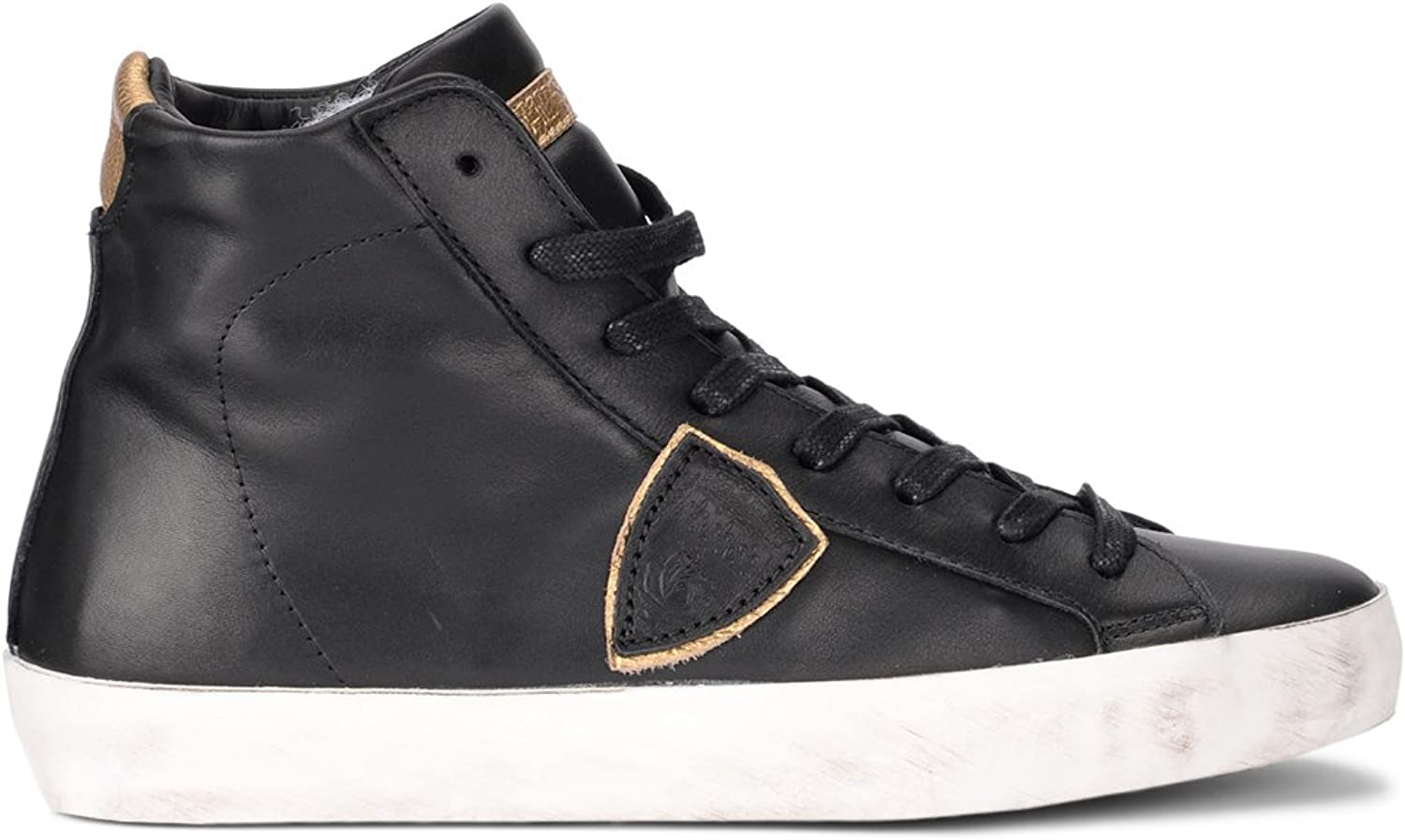 PHILIPPE MODEL Woman's Modello Paris Black and gold Leather High Sneaker