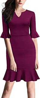 FORTRIC Women Bell Sleeves Fishtail Office Work Casual Petite Dresses