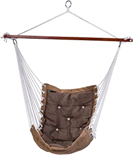 SUNMERIT Hanging Rope Hammock Chair Swing Seat, Large Cotton Swing Hammock Chair for Indoor Bedroom, Living Room, Porch, Outdoor Garden, Patio, Yard, Tree, 300 lbs Capacity (Light Gray)