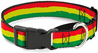 """Buckle-Down Martingale Dog Collar - Rasta Stripes Painted Green/Yellow/Red - 1"""" Wide - Fits 15-26"""" Neck Size - Large 1"""" Wi..."""