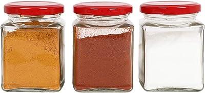 KA Enterprises Fancy Square Jar with Metal Rust Proof red Colour Airtight Lid |Storage Glass Jar |150gram|Set of 12