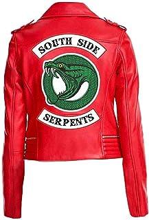 """wowstore - Giacca da motociclista in ecopelle, da donna, stile Riverdale, con scritta """"South Side Serpents"""", Cheryl Blossom"""
