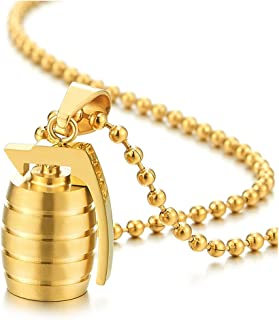 Stainless Steel Grenade Pendant Necklace for Man High Polished with 23.6 in Ball Chain