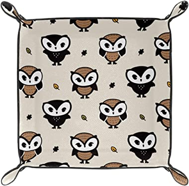 WOSHISHUI Brown Owls Valet Tray for Womens Storage Organizer Multi-Use PU Leather Bedside Caddy Dice Holder for Keys, Phone,