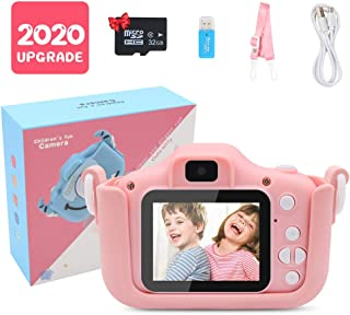 Tresbro Kids Camera, 1080P FHD Rechargable Children Digital Camera with Dual Lens, 2 Inches IPS Screen Shockproof Mini Video Camera, 32G SD Card, Starter Camera for Toddler/ Young Child 3-12 Years Old