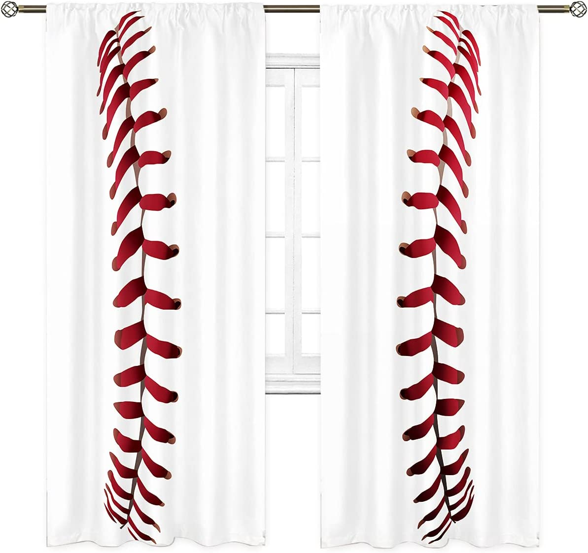 Cinbloo Sports Fort Worth Mall Living Room Baseball Pocket Pink Red Curtains Phoenix Mall Rod