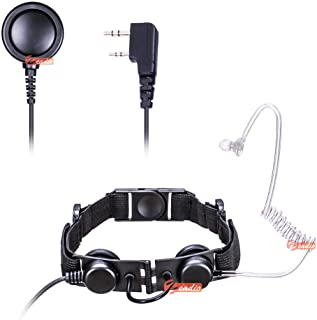 Zeadio Tactical Laryngophone Earpiece - Heavy Duty Throat Mic Covert Acoustic Tube with Finger PTT Microphone for 2 PIN Kenwood Baofeng HYT Wouxun Puxing Quansheng radios etc.