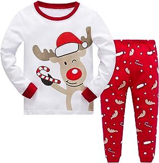 MIXIDON Pijamas de Navidad para Niños Pequeños y Niñas Algodón Ropa de Dormir Manga Larga 2 Piezas Ropa de Niños Pjs 3 a 1...