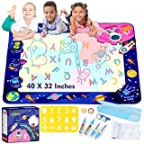 Kidpal Doodle Water Mat 40 X 32 Inches Extra Large, Coloring Art Aqua Mat Educational Toy Magic Water Drawing Mat for Kids Painting Set Gift for Toddler 3 4 5 6 Year Old Boys & Girls