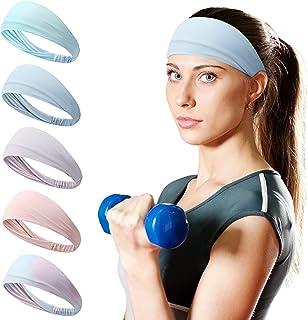 JJCALL Women Sports Headband (5 Pieces), Moisture Wicking Exercise Headband, Running, Cycling, Football, Yoga, Women Hairband