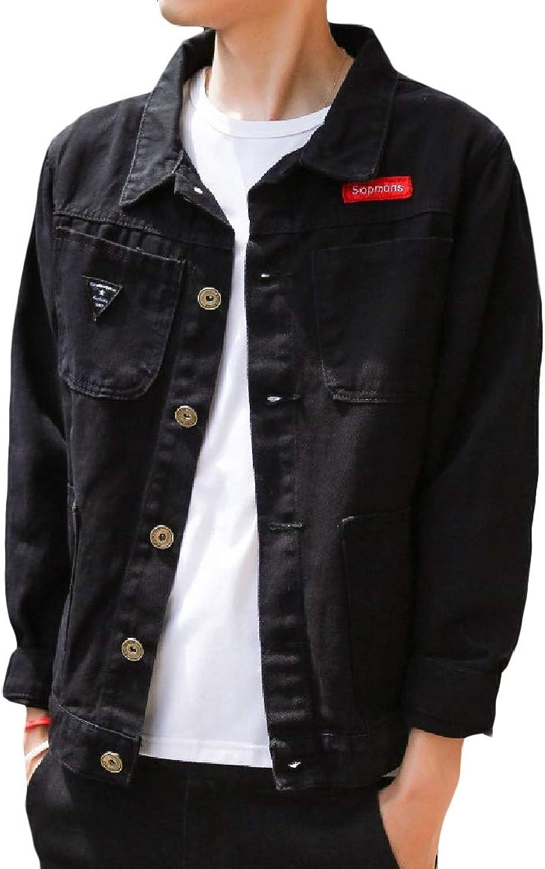 TaoNice Men's Comfort Distressed Denim Printed Camo Coat Jacket