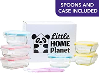 Little Home Planet, 6 Piece Baby Set, Glass Storage Containers with BPA-Free Snap-Lock Lids and 2 Silicon Spoons (Renewed)