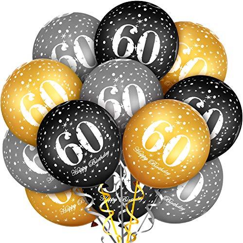 60 Stücke 60. Geburtstag Ballon Latex Luftballons Bunte Party Ballons für 60. Geburtstag Party Dekoration, 3 Farben