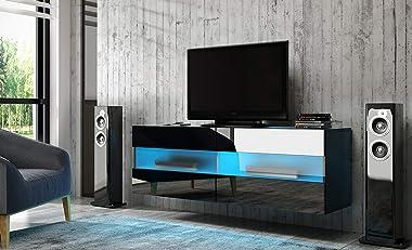 PEGANE Meuble TV Design avec éclairage LED, Coloris Noir Mat/Noir Brillant - 100 x 40 x 35 cm