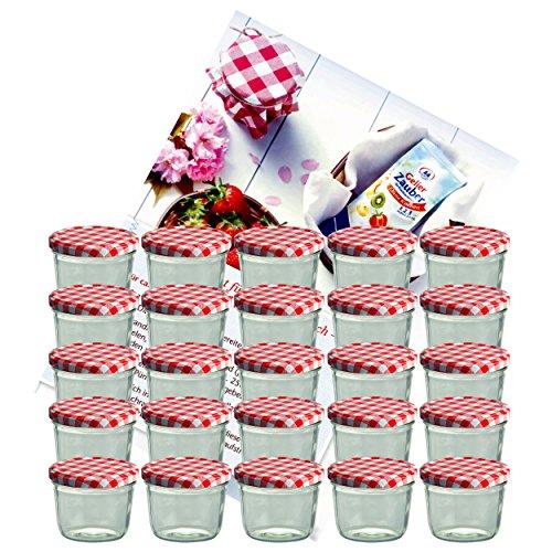 Set da 25 barattoli in vetro da 230 ml per conserve / marmellate, con tappo 82 mm, colore: rosso a quadretti, include quaderno per ricette