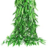 CEWOR 70pcs 420ft Artificial Willow Leaves Fake Hanging Vines Wicker Vine Silk Greenery Willow Garland for Home Wedding Garden Balcony Courtyard Decor