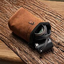 Genuine Leather Mini Small Camera Soft Bag Cover Case for Leica Sony Fujifilm Olympus Canon Nikon Mirrorless Digital Camera DC (S, Brown)