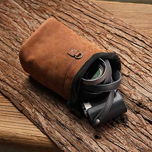 Genuine Leather Mini Small Camera Soft Bag Cover Case for Leica Sony Fujifilm Olympus Canon Nikon Mirrorless Digital Camera DC (M, Brown)